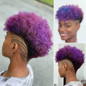 Tapered haircut on curly dyed natural hair