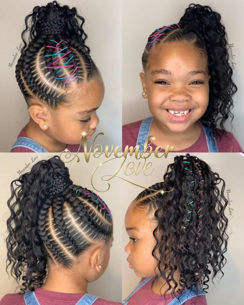 boho feed in braided hairstyle for little girls