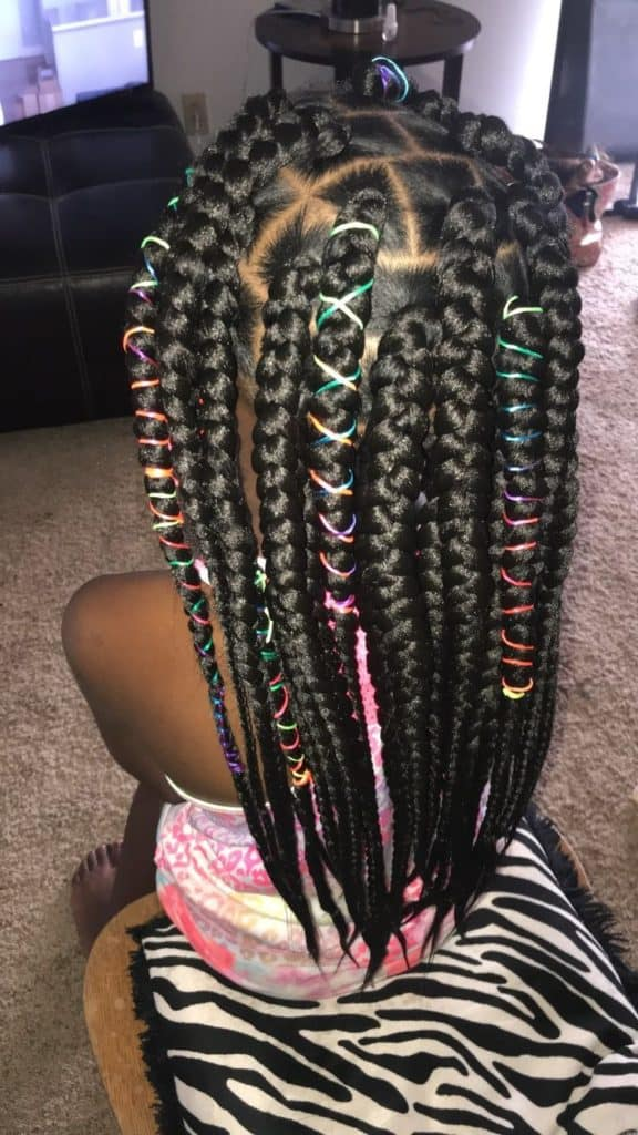 kids box braids with colorful strings