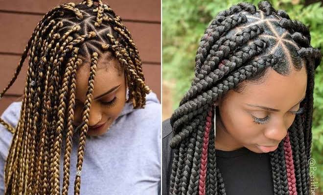 Triangle part box braids