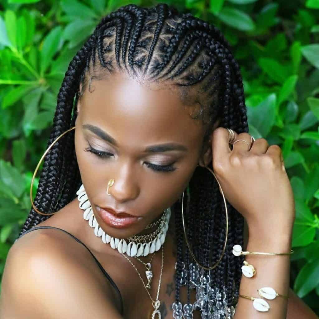 Tribal fulani braids with beads