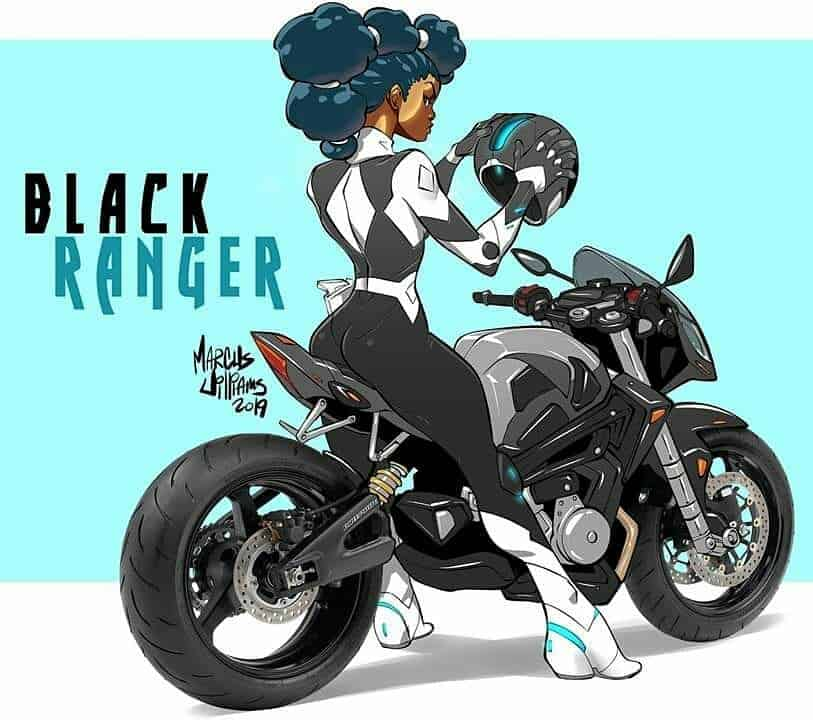 black girl black ranger illustration art