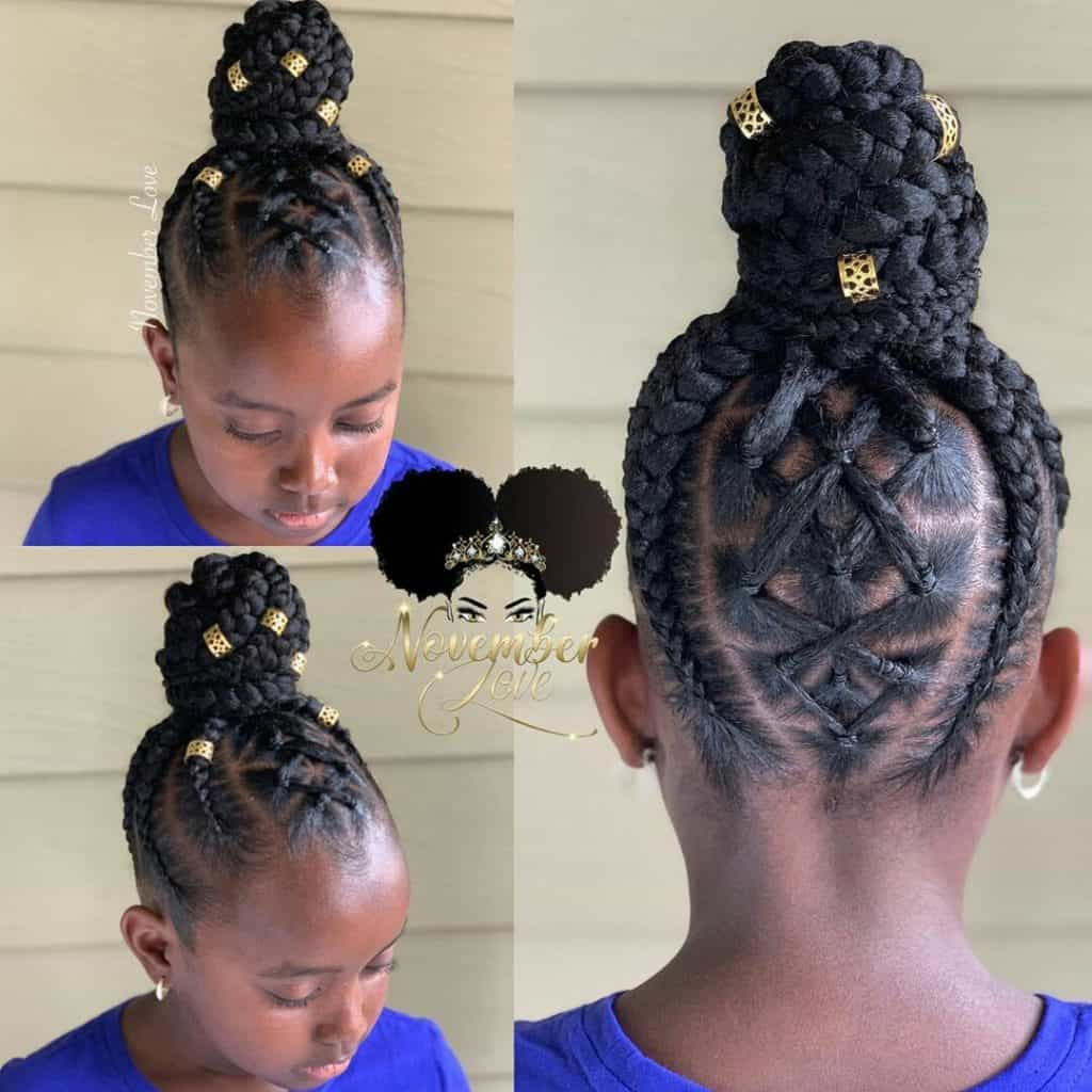 braided hairstyles for kids feed in updo