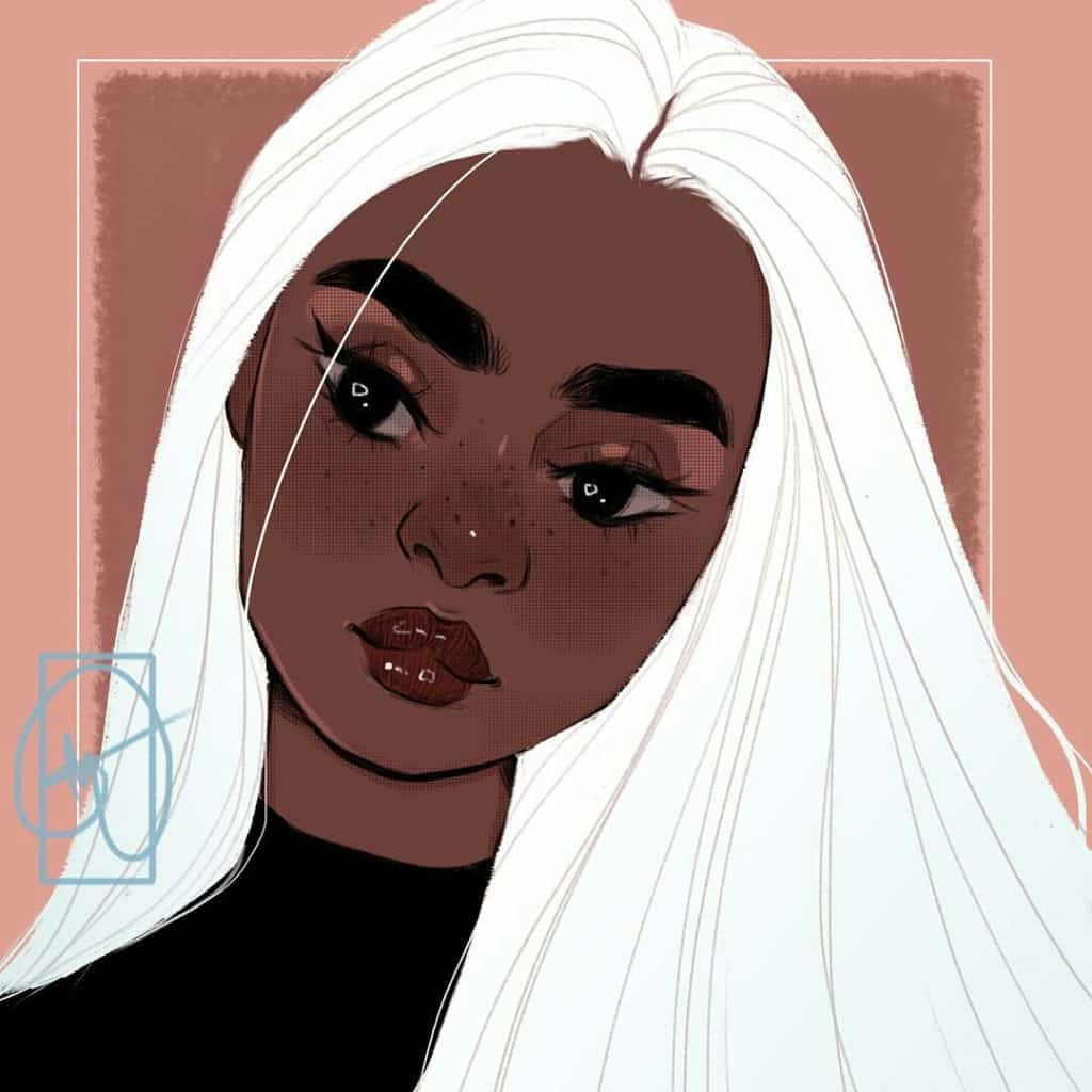 black girl white hair art