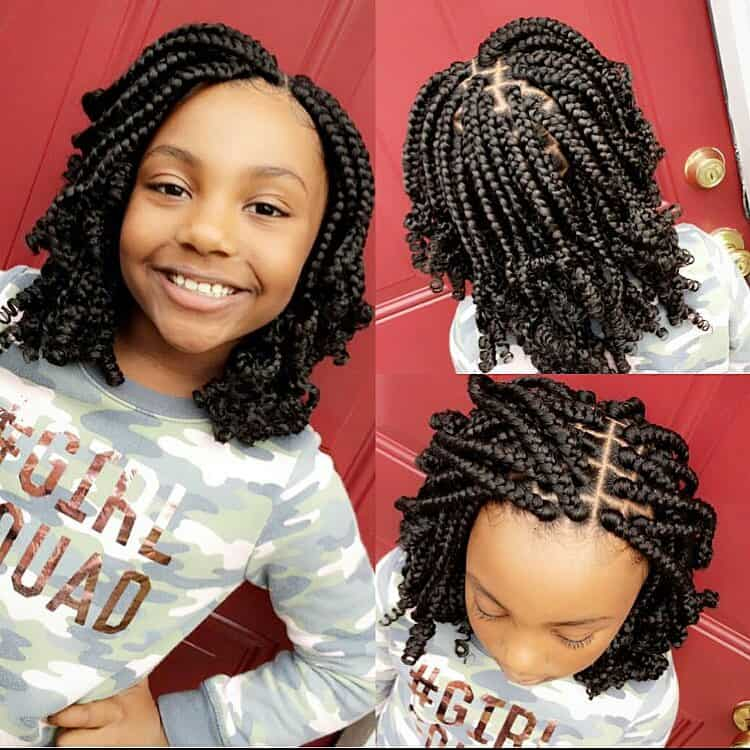 kids curly bob box braids