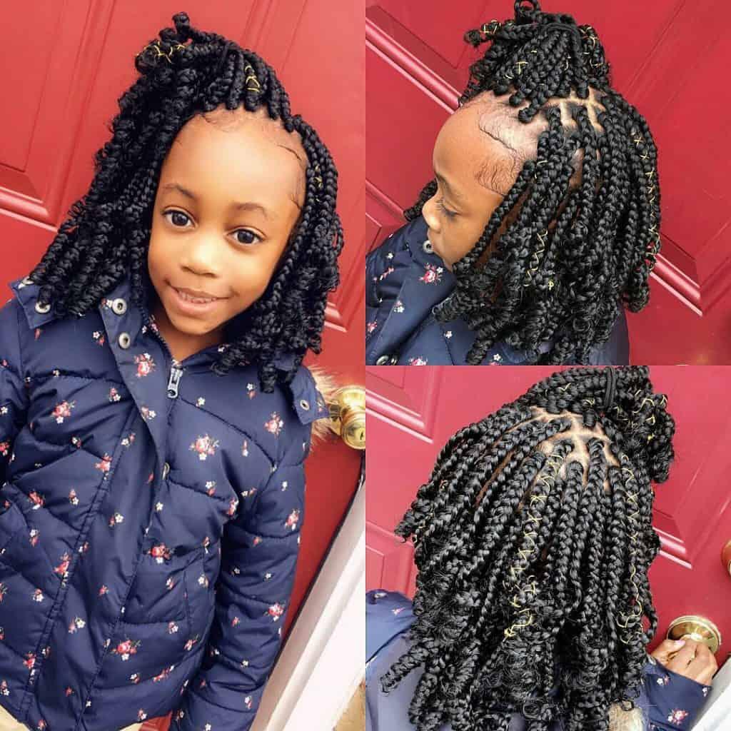 kids short curly box braids