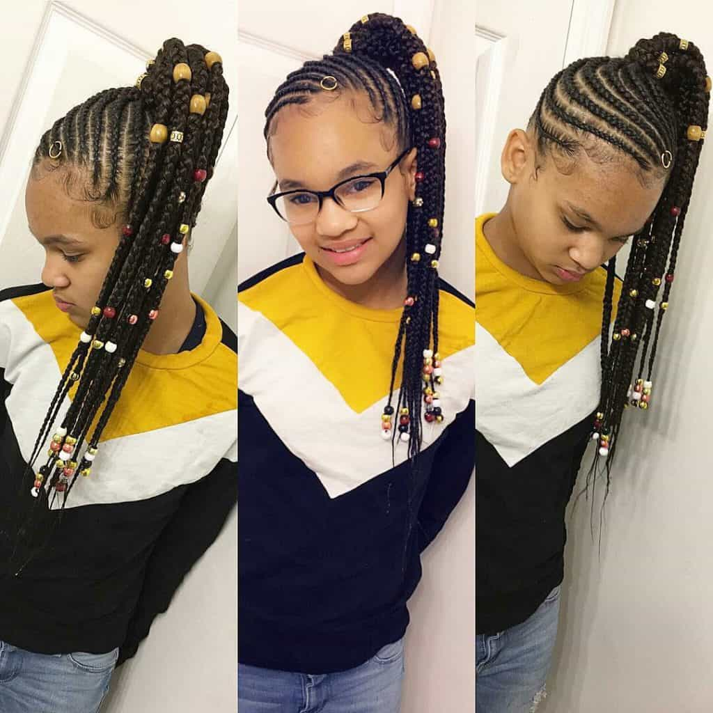 braided hairstyles for kids ponytails