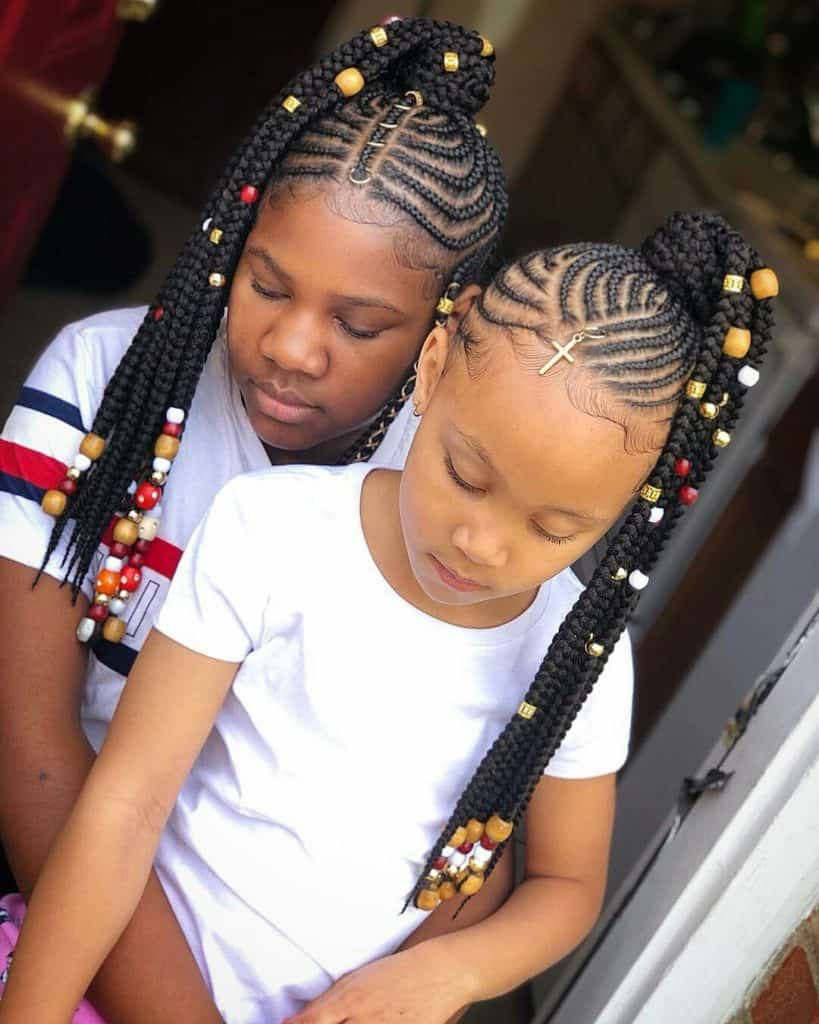 kids braided hairstyles with beads ponytails