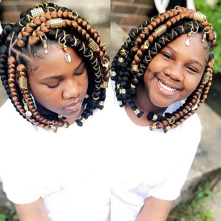 kids bob box braids with beads