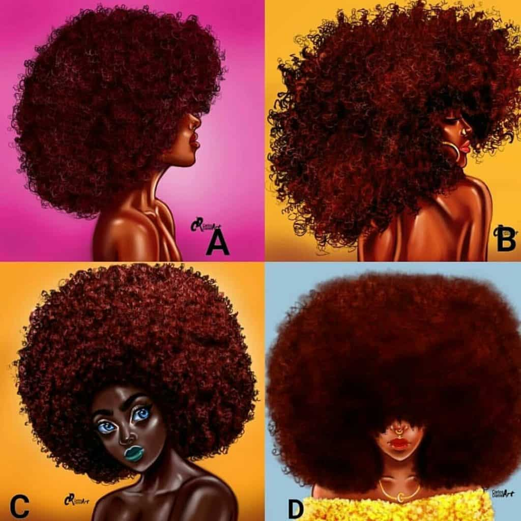 black girl afro hair illustration art