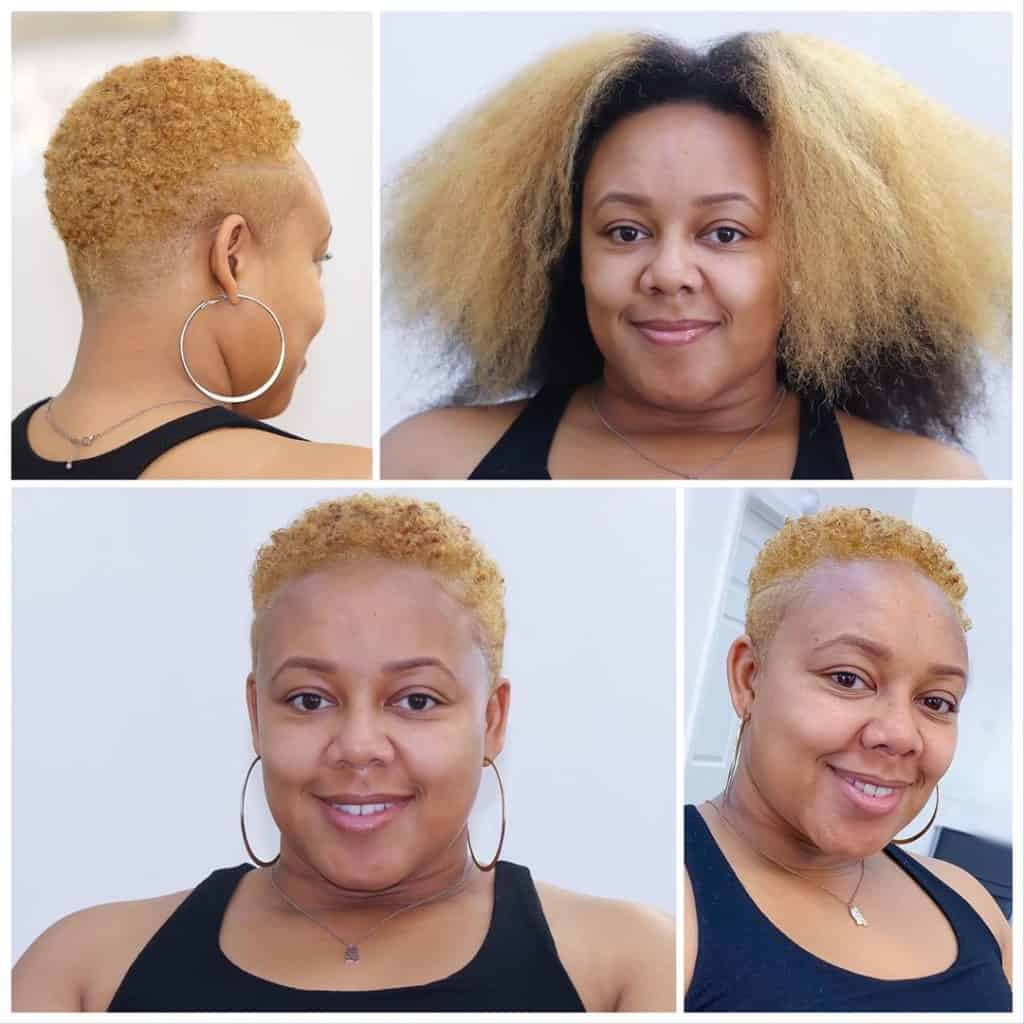 big chop blonde highlights tapered haircut