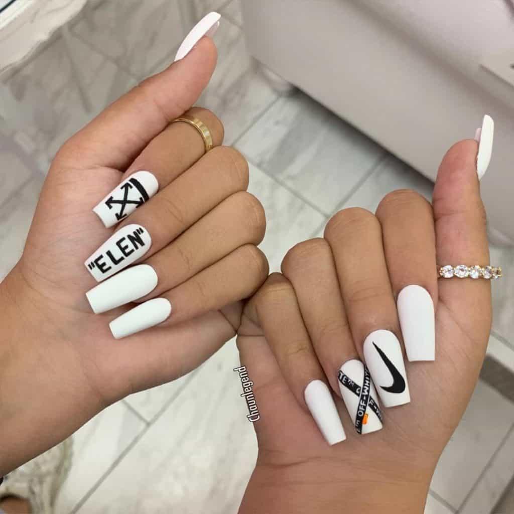 white long acrylic nails