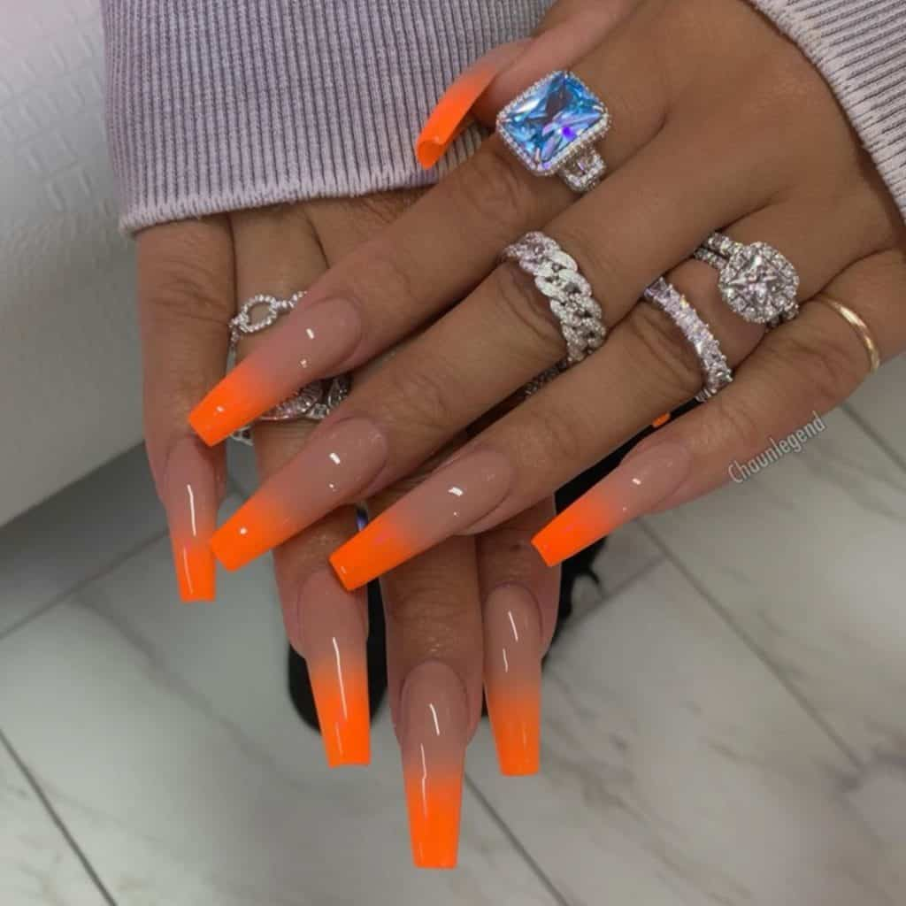 two tone long acrylic nails