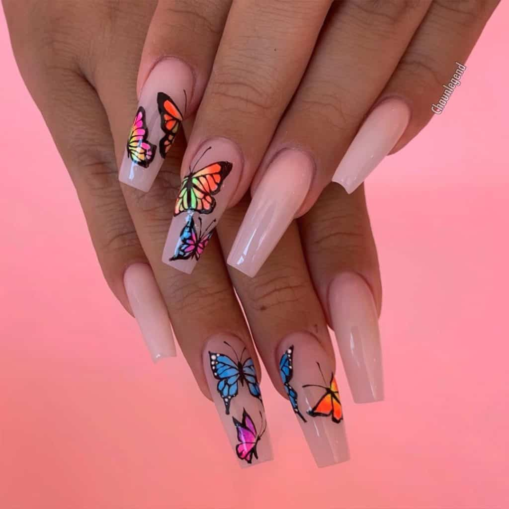 butterfly art acrylic nails
