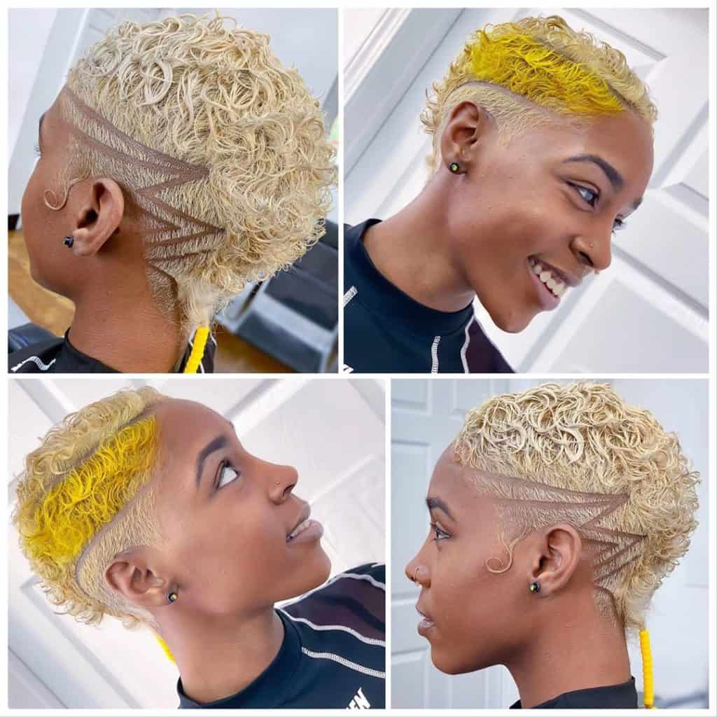 blonde and yellow short curly tapered haircut women
