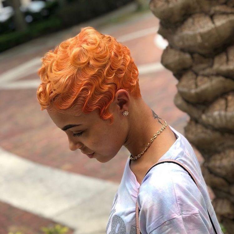 waves on short ginger hair for women