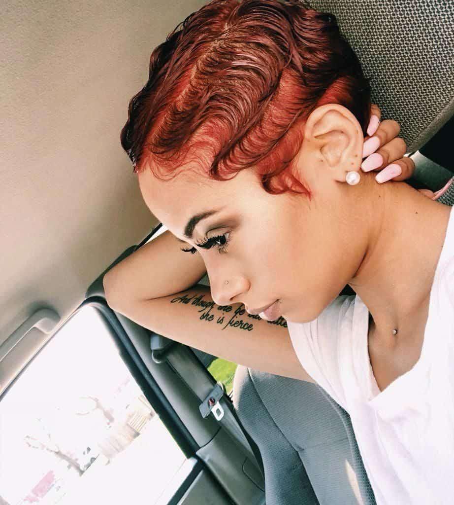 waves on short red hair women