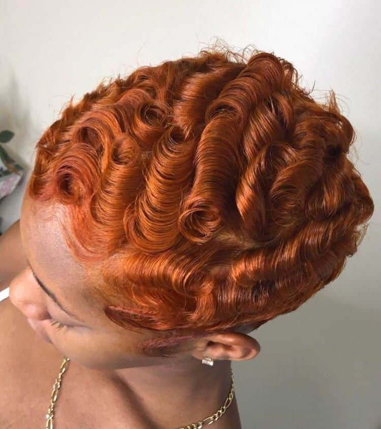 waves on short ginger hair