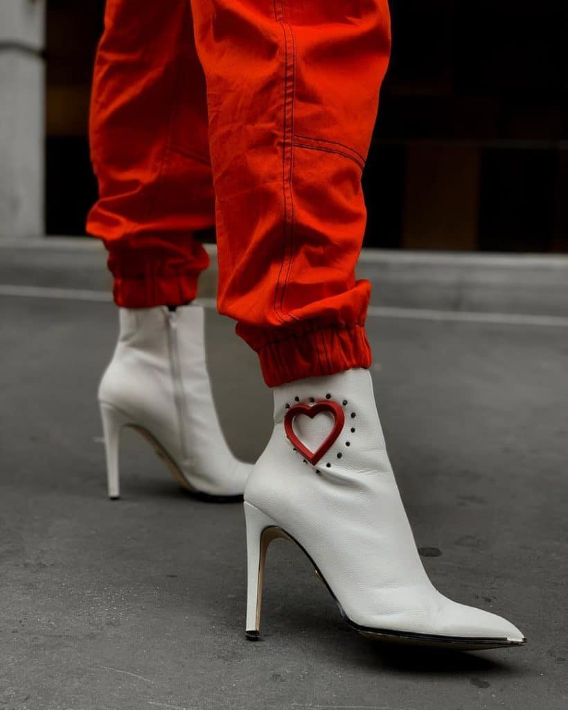 white heeled ankle boots