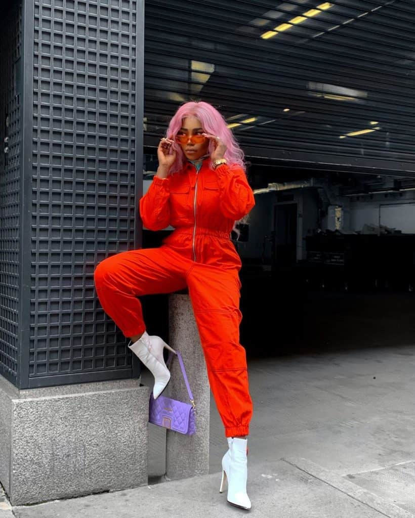 orange mechanic overalls styled