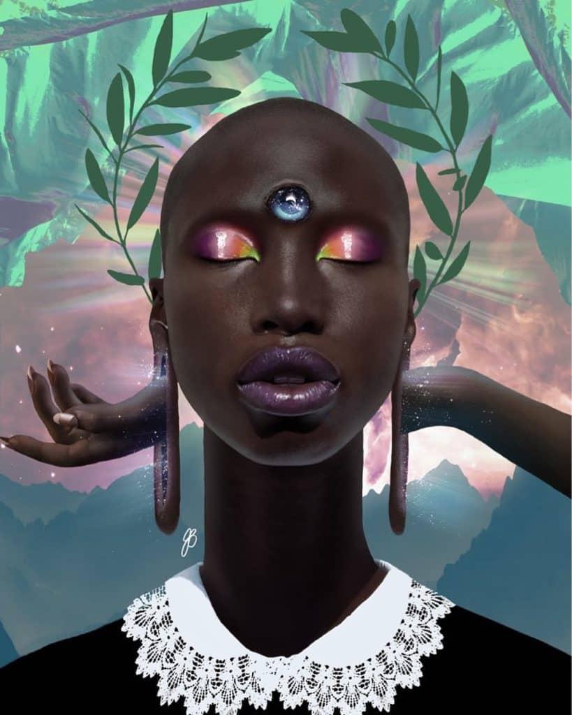 black woman third eye art