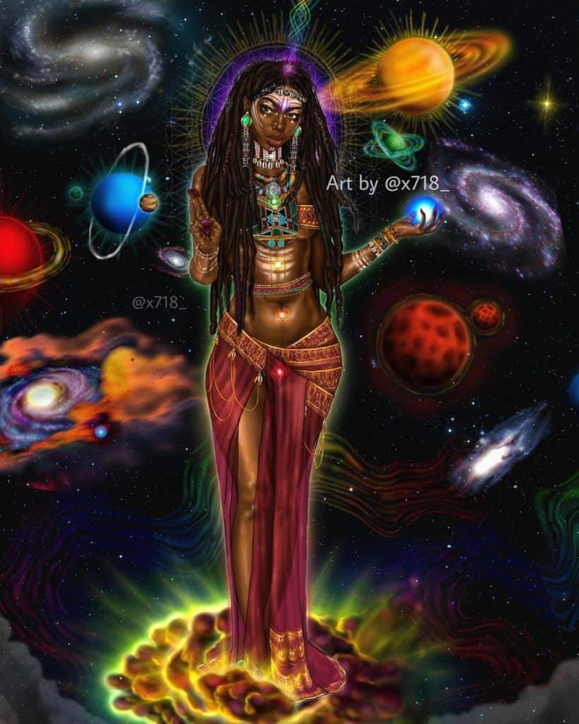 black woman in a galaxy art