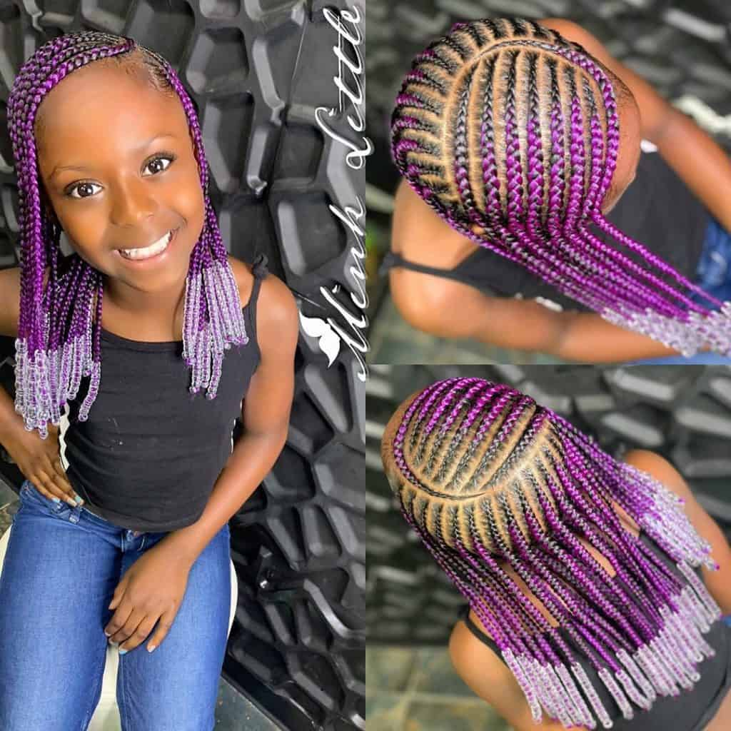 purple kids braids with beads
