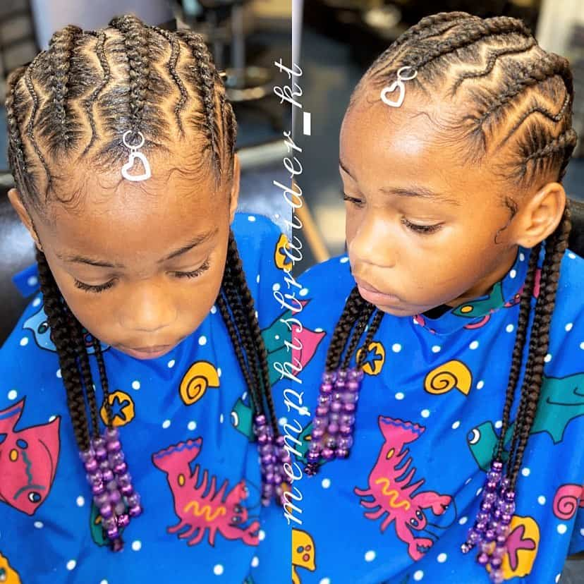 kids conrows with beads