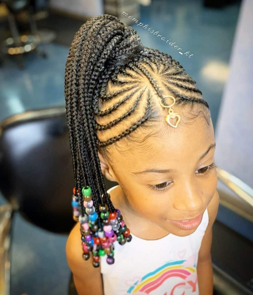 kids braided updo with beads