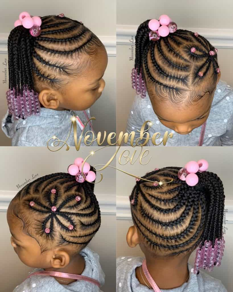 kids braids with pink beads
