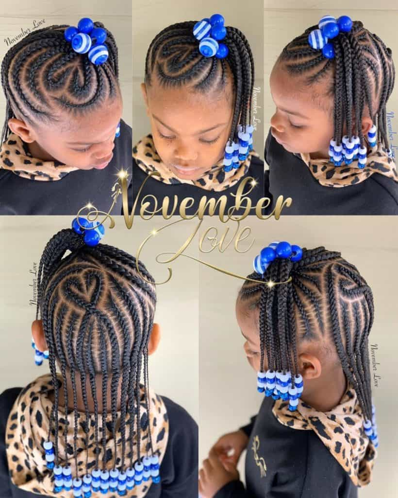 kids braids with blue beads