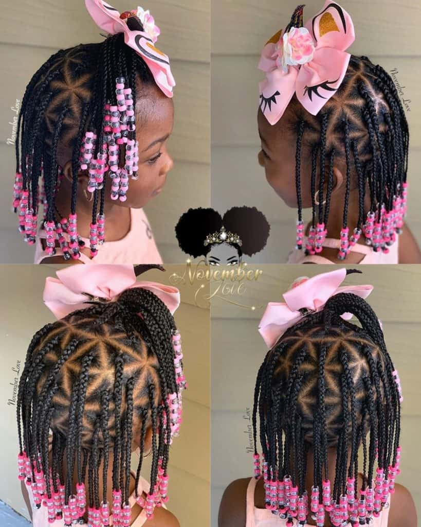 kids box braids with pink beads