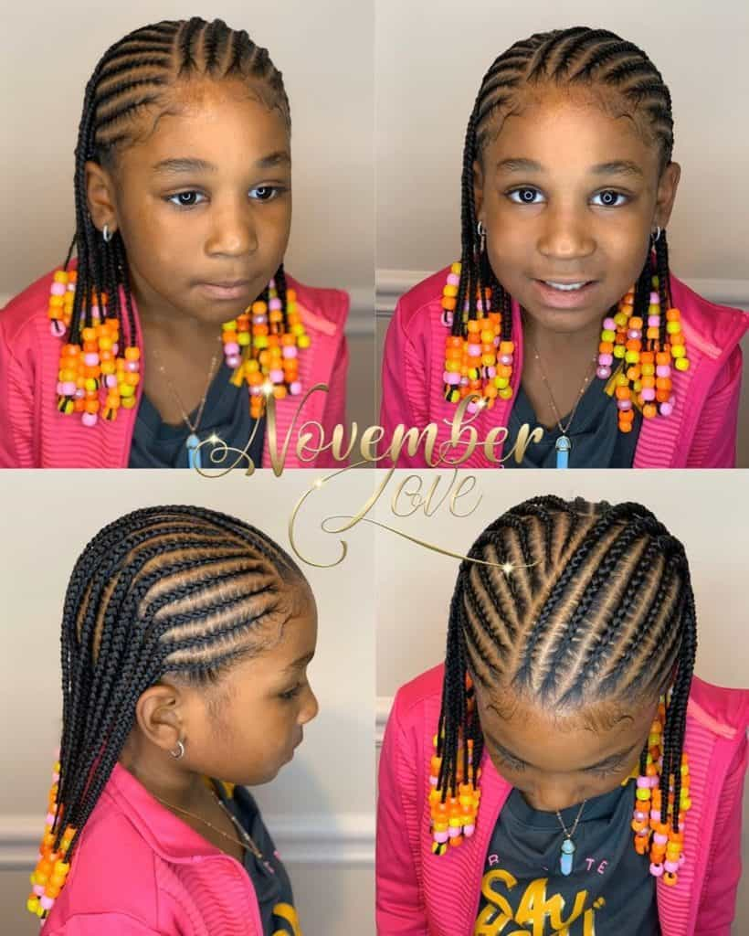 kids braids with orange beads
