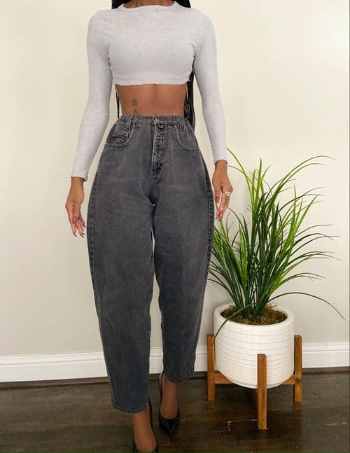 vintage charcoal mom jeans