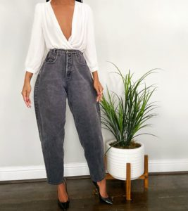 reconstructed grey mom jeans