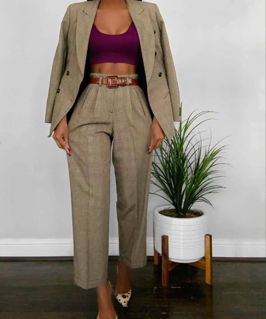 vintage plaid pants suit
