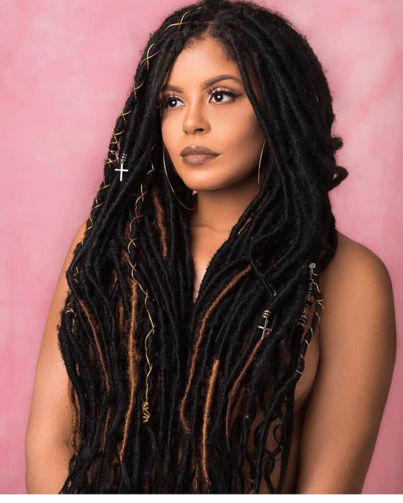 long brown and black faux locs