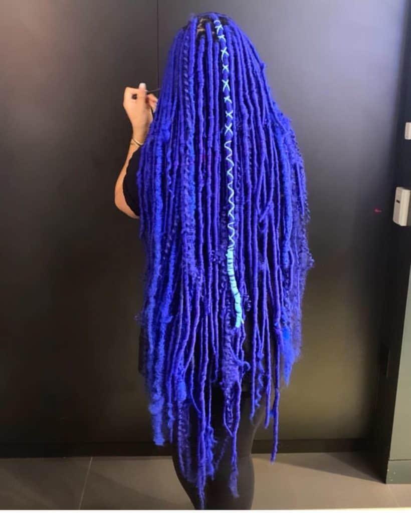 blue long faux goddess locs