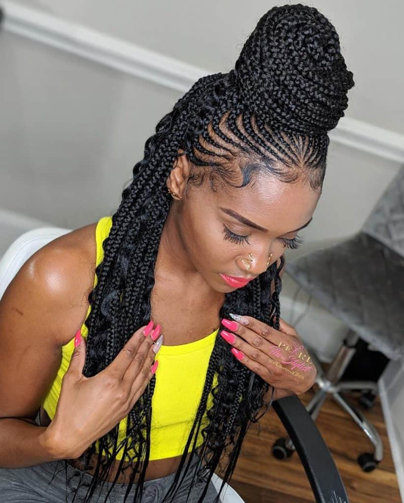 cornrows into box braids