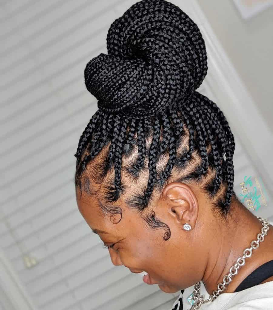 medium knotless braids updo