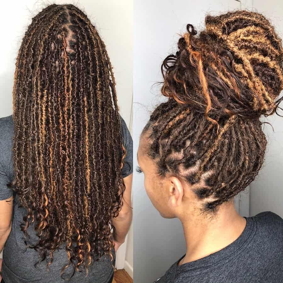 multi tone human hair goddess locs