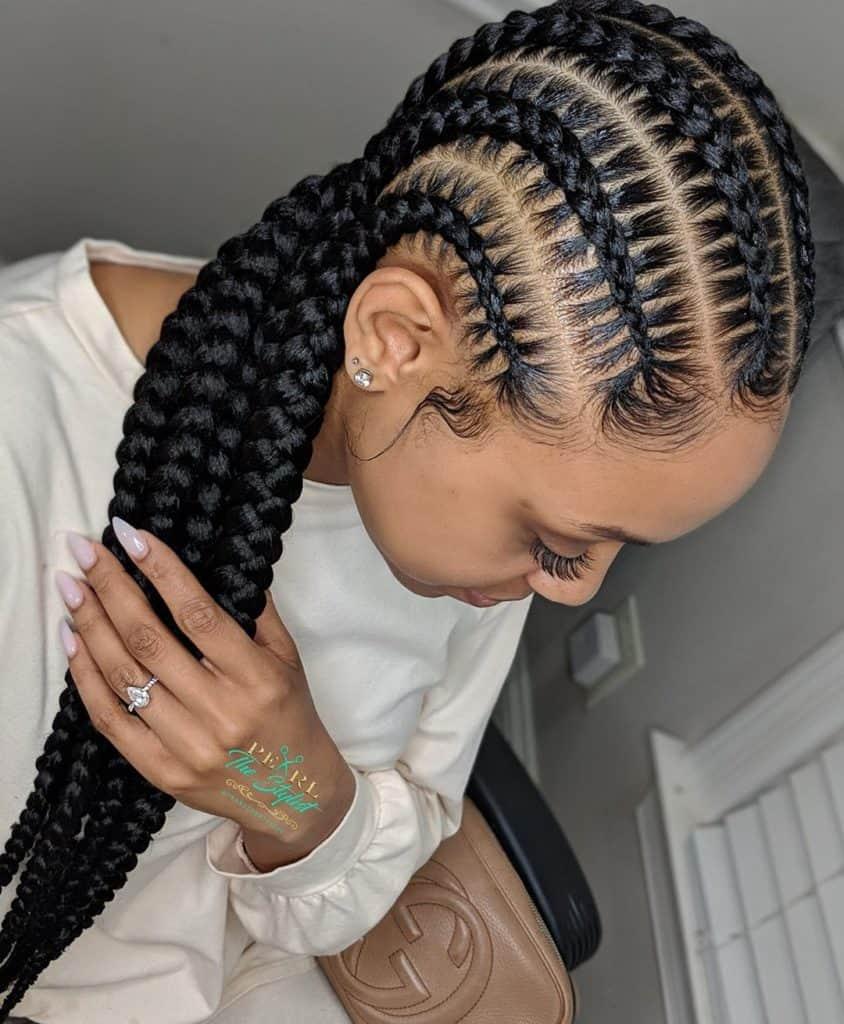 stitch in/ feed in cornrow braids