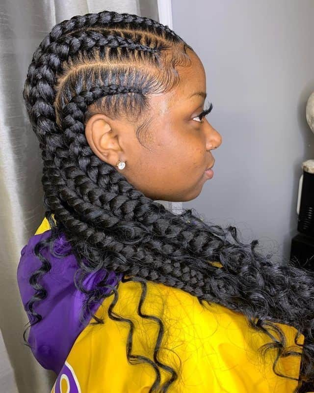 bohemian cornrow braids with curly ends