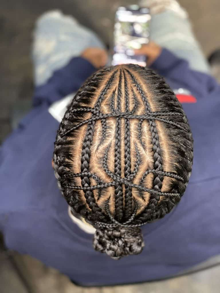 cornrow braids with intricate patterns