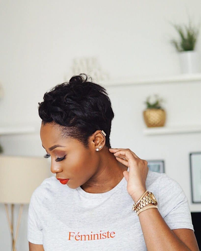 curly pixie cut on relaxed hair