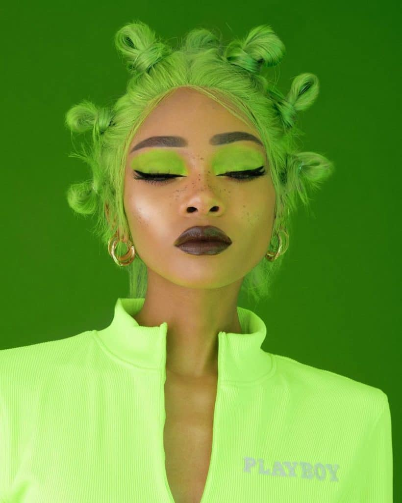nyane lebajoa green hair and makeup