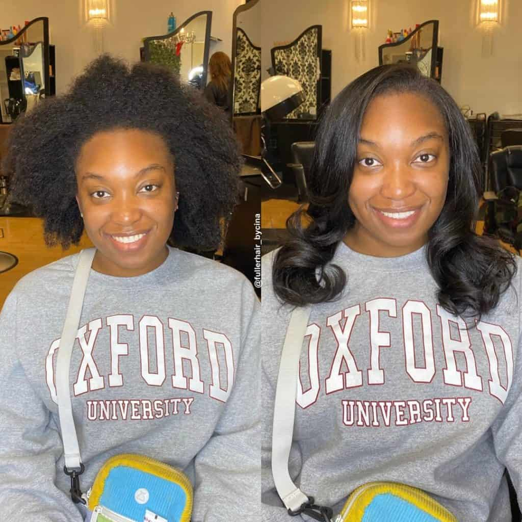 silk press for natural hair before and after