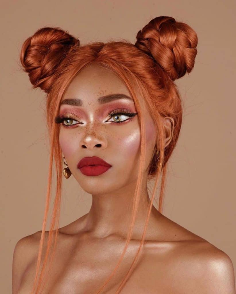 nyane lebajoa hair braided space buns