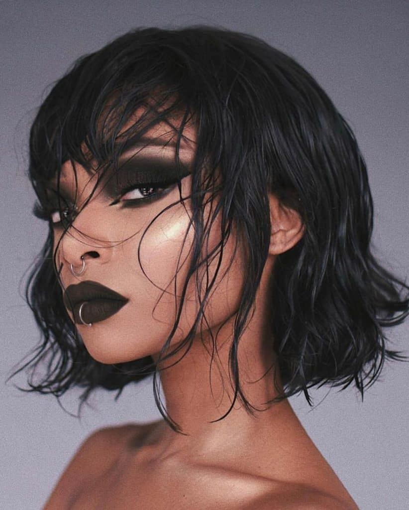 nyane lebajoa goth makeup and black hair