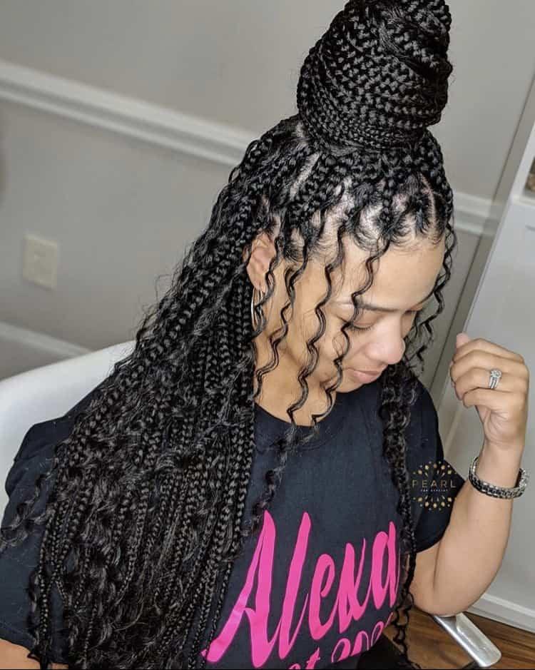 Boho long knotless braids
